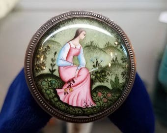 Victorian Era European Portrait Art Brooch