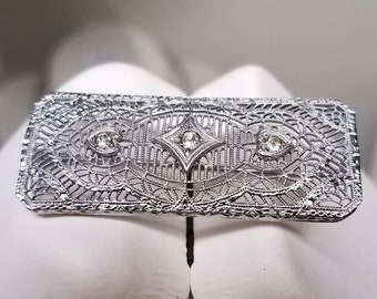 Art Deco Rhodium Filigree Paste Brooch Pin