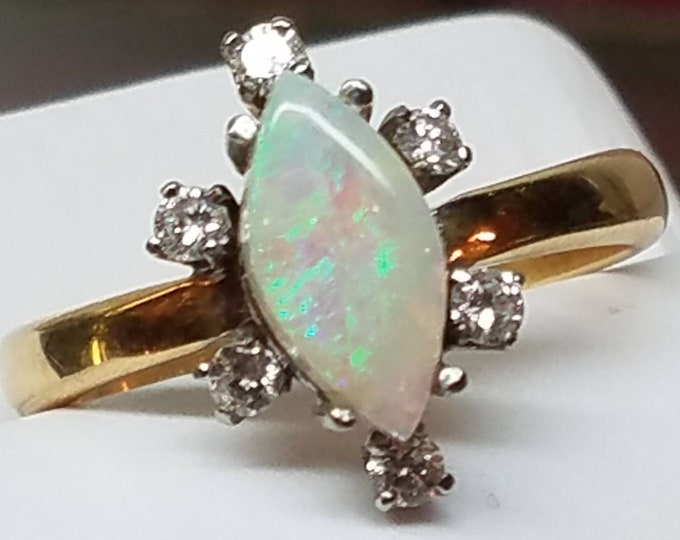 Vintage 18K White and Yellow Gold Opal Diamond Ring