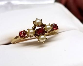 Edwardian Ryrie Brothers Circa 1910 14K Ruby Pearl Ring