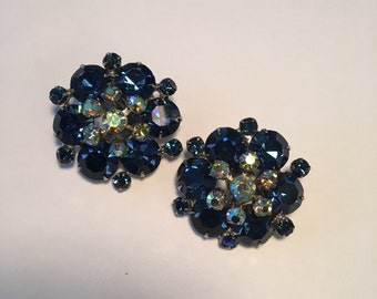 Juliana Delizza & Elster Festive Blue Rhinestone Aurora Borealis Large Clip on Earrings