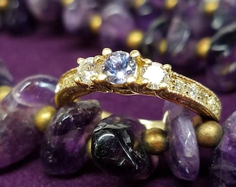 18K Yellow Gold Tanzanite Diamond Ring