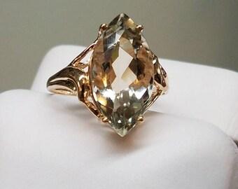 Vintage 14K Yellow Gold Aquamarine KAPOW ring