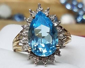 Vintage 14K Yellow White Gold Blue Topaz Diamond Ring