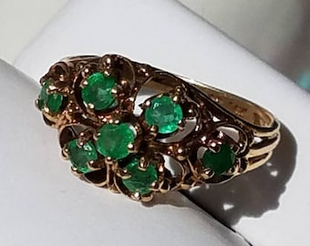 Vintage 14K Yellow Gold Emerald Ring