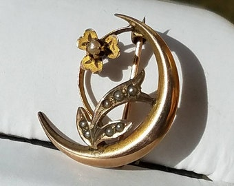 Victorian 10K Yellow Gold Seedpearl Shamrock Crescent Brooch Pin