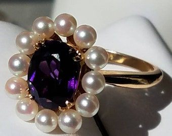 Vintage 14K Yellow Gold Siberian Amethyst Pearl Halo Ring