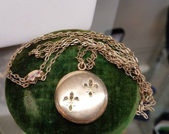 Victorian Goldfill Locket on Watchain