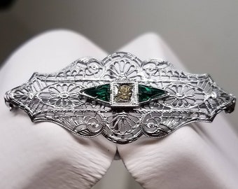 Art Deco Chromium Filigree Brooch Pin