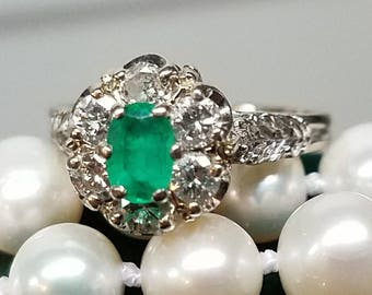 1960s Era 14K White Gold Emerald Diamond Ring