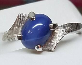 Vintage 14K White Gold Hallmarked Star Sapphire Ring