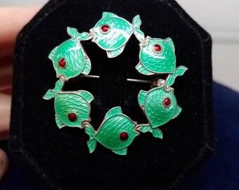 Denmark Volmer Bahner mcm Sterling Enamel Fish Brooch Pin