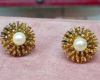 Vintage Gold Vermeil Pearl Earrings