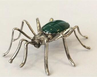E. Spencer Navajo Spider Sterling Silver and Malachite Pin