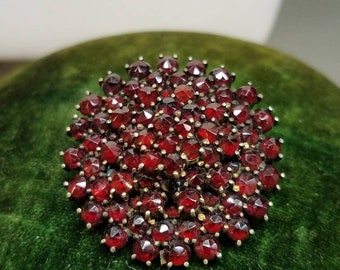 Antique Bohemian Garnet Tiered Gilt Brooch Pin