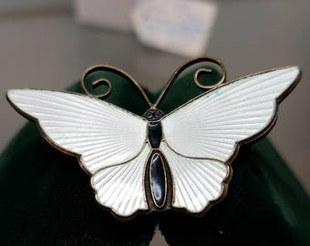 Norway David Anderson Guilloche Butterfly Brooch Pin