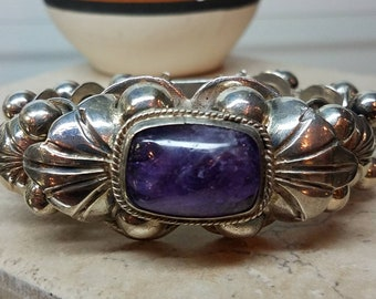 Vintage Taxco Mexico Sterling Amethyst Bracelet