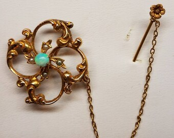 Victorian 10K Yellow Gold Opal Seedpearl Brooch and Stickpin