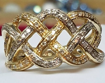 Vintage 14K Multi-tone Diamond Lattice Band