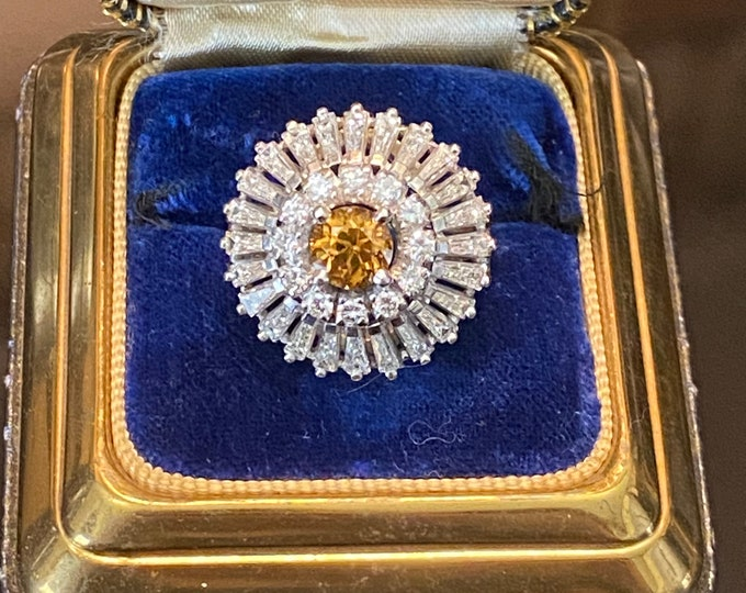 Spectacular 1950s Platinum Diamond Natural Zircon Cocktail KAPOW Ring