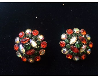 Kramer Signed Large Festive Rhinestone Clip On Earrings