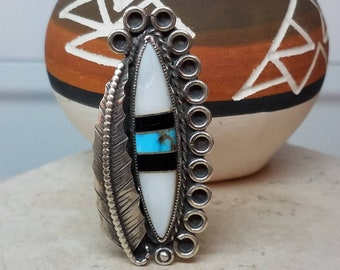 Vintage Native American Sterling Turquoise Mother Of Pearl Onyx Ring