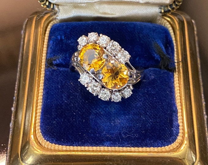 Signed Jabel 18k Citrine Diamond Cocktail KAPOW Ring
