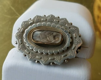 Victorian English Sterling Hair Mourning Brooch Pin with Locket