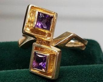 Modernist 14k Gold Double Amethyst Ring