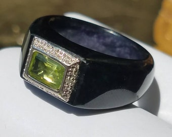 Vintage Onyx Peridot Diamond Ring