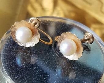Vintage 14K Cultured Pearl Stud Earrings