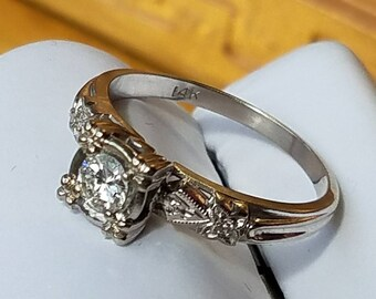Vintage 14K White Gold .35 Carat Center Diamond Solitaire Ring