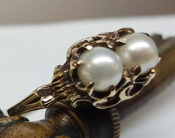 Victorian 10K Yellow Gold Double Pearl Ring