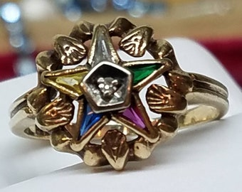Vintage 10K Yellow Gold Eastern Star Ring