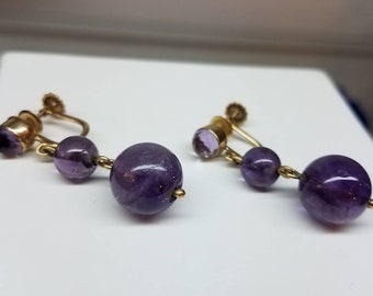 Retro Era Vintage 14K Yellow Gold Amethyst Dangle Screwback Earrings