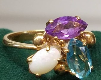 18K Yellow Gold Opal Amethyst Blue Topaz Ring