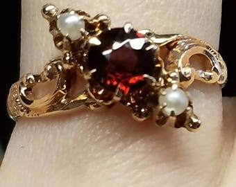 Victorian Red Spinel Pearl 14K Yellow Gold Ring