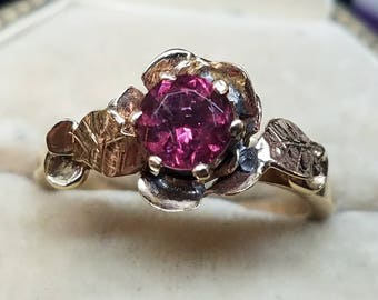 1970s Era 10K Yellow Gold Pink Tourmaline Ring