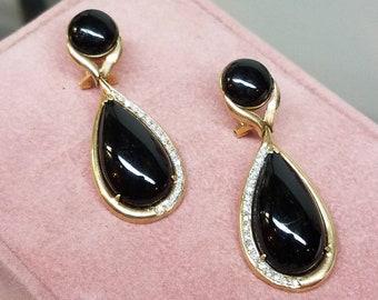 Vintage 14K Yellow Gold Diamond Onyx Earrings