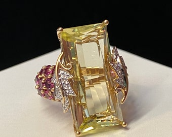 Impressive 14k Citrine Tourmaline Diamond Statement KAPOW Ring