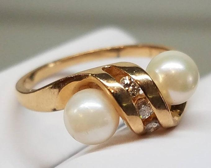 1983 14K Yellow Gold Diamond Pearl Ring