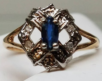 Vintage 10K 2-Tone Sapphire Ring