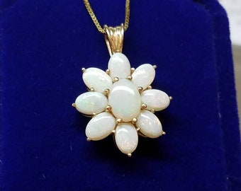 14K Yellow Gold Opal Cluster Necklace