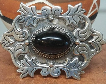 Vintage Mexico Sterling Onyx Brooch Pin