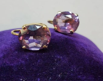 Vintage 14K Yellow Gold Amethyst Screwback Earrings