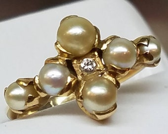 Edwardian 14K Yellow Gold Pearl Diamond Ring