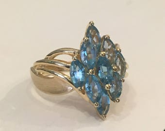 1980s Era 14k Gold Marquis Blue Topaz Cluster Statement Ring 7
