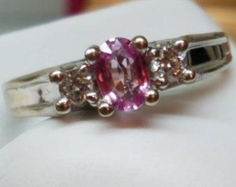 Vintage 14K Diamond Pink Sapphire Ring