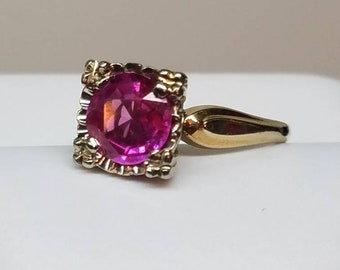 Retro 14K Yellow and White Gold Pink Sapphire Ring