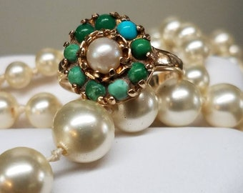 Vintage England 9K Yellow Gold Turquoise Pearl Ring